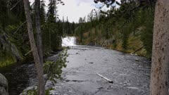 wide view of lewis falls in yellowstone national park in the united states