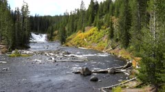 autumn afternoon view of the lewis river and falls in yellowstone national park in the united states