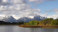 morning view of fall colors at oxbow bend at grand teton national park of wyoming in the united states