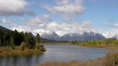 autumn snow on mt moran at oxbow bend in grand teton national park of the usa