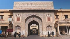 wide shot of a entrance gate to city palace in jaipur, india
