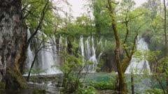 wide angle shot of galovacki buk waterfall at plitvice national park in croatia