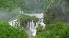 high angle view of several lakes and waterfalls at plitvice lakes national park in croatia