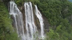 high shot of veliki slap, the largest waterfall, at plitvice lakes national park in croatia