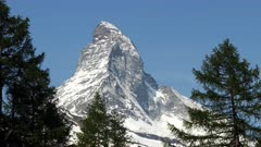 an extreme close up of the matterhorn mountain from the village of zermatt, switzerland