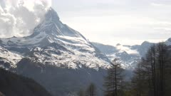 afternoon pan of the matterhorn mountain in the alps near zermatt, switzerland