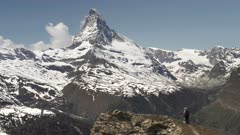 wide angle panning clip of the matterhorn mountain on a spring morning at zermatt, switzerland