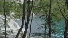 a gimbal steadicam clip walking past milanovacki slap waterfall at plitvice lakes national park in croatia