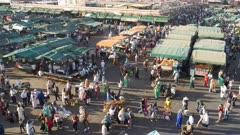 close up pan of the jemaa el-fnaa bazaar in marrakesh, morroco