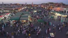 high angle night shot of market stalls at the jemaa el-fnaa market in marrakesh, morroco