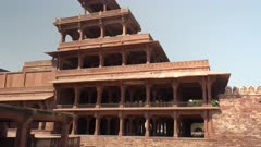 tilt up clip of pancha mahal at fatehpur sikri near agra, india