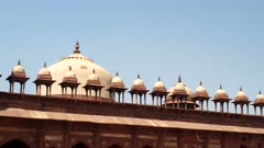 pan of domes on top of jama masjid mosque at fatephur sikri near agra, india