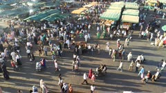 close view of traders and tourists, from balcony overlooking the main bazaar, in marrakech, morroco