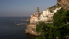 village of atrani with a fig tree in the foreground on the amalfi coast in southern italy