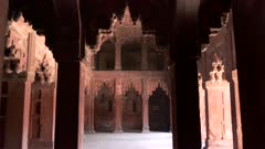 tilt up clip of the interior of a palace at red fort in agra, india