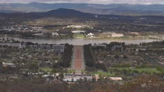zoom in shot of canberra from mt ainslie lookout in the australian capital territory on a spring morning