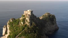 close view of a headland on the amalfi coast in southern italy on a summer morning