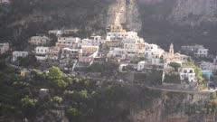 close shot of houses in the village of positano on the italian amalfi coast