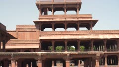 close tilt up clip of pancha mahal palace at fatephur sikri near agra, india