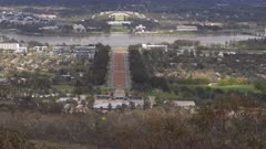 tilt up clip of canberra from mt ainslie lookout on a spring morning in the australian capital territory of australia