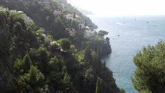 high key clip of the steep cliffs at positano on the amalfi coast in southern italy