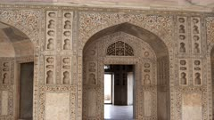 zoom in shot of the interior of khas mahal palace at red fort in agra, india