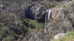 wide angle clip of the lower section of ebor falls in the new england region of nsw, australia
