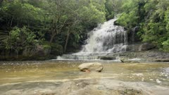 dolly shot of somersby falls, with high spring flow, near gosford on the nsw central coast