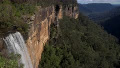 tilt down view of fitzroy falls on a spring afternoon at morton national park in the nsw southern highlands of australia