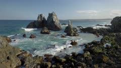 high angle clip of camel rock at bermagui during a spring afternoon on the nsw south coast of australia