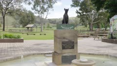 wide shot of the historic dog on the tuckerbox at gundagai in nsw, australia