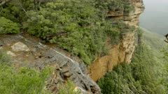 wide view of wentworth falls from fletchers lookout in the blue mountains of nsw, australia