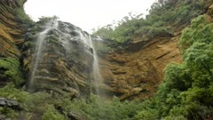 low angle view of the top of wentworth falls in the blue mountains of nsw, australia