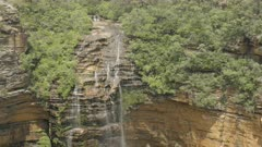 close up zoom in shot of wentworth falls in the blue mountains of nsw, australia