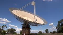 a close shot of the csiro radio telescope at parkes in western nsw, australia