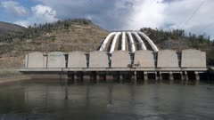 front view of talbingo dam and power station in nsw, australia