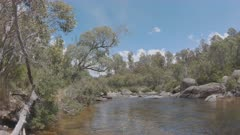 pov clip of casting a fly fishing rod on the thredbo river at kosciuszko national park in nsw, australia