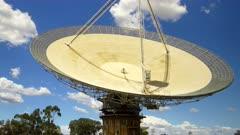 close tilt up shot of the csiro radio telescope at parkes in western nsw, australia