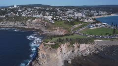 reveal type aerial shot of the skillion at terrigal on the nsw central coast of australia