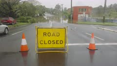 road closed sign due to flooding at bridge street in windsor of nsw, australia