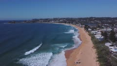 drone aerial clip approaching terrigal beach at terrigal on the nsw central coast of australia