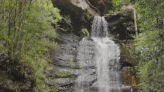 slow motion shot of the top of empress falls at katoomba in the blue mountains of nsw, australia