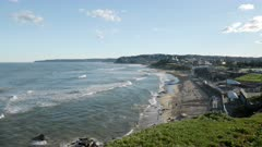 afternoon view looking south towards merewether beach at newcastle in nsw, australia
