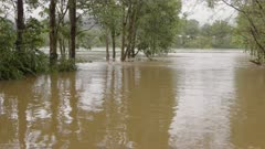 pan of the nepean river in flood during the march 2021 floods in nsw, australia