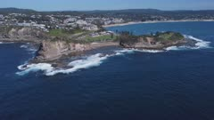 an aerial approaching clip of the skillion at terrigal on the nsw central coast of australia