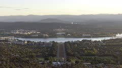 sunset time lapse of canberra from mt ainslie lookout in the australian capital territory of australia