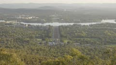 an autumn afternoon view of canberra from mt ainslie in the act, australia