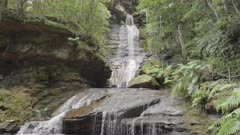 close up tilt down clip of empress falls at katoomba in the blue mountains of nsw, australia