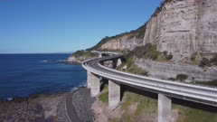 close approaching aerial view of sea cliff bridge at stanwell park on the nsw south coast of australia