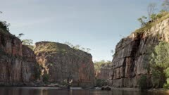 upstream view of cliffs in the second nitmiluk gorge, also known as katherine gorge at nitmiluk national park in the northern territory